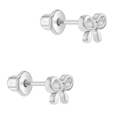925 Sterling Silver Clear CZ Tiny Bow Screw Back Earrings for Toddlers & Young Girls