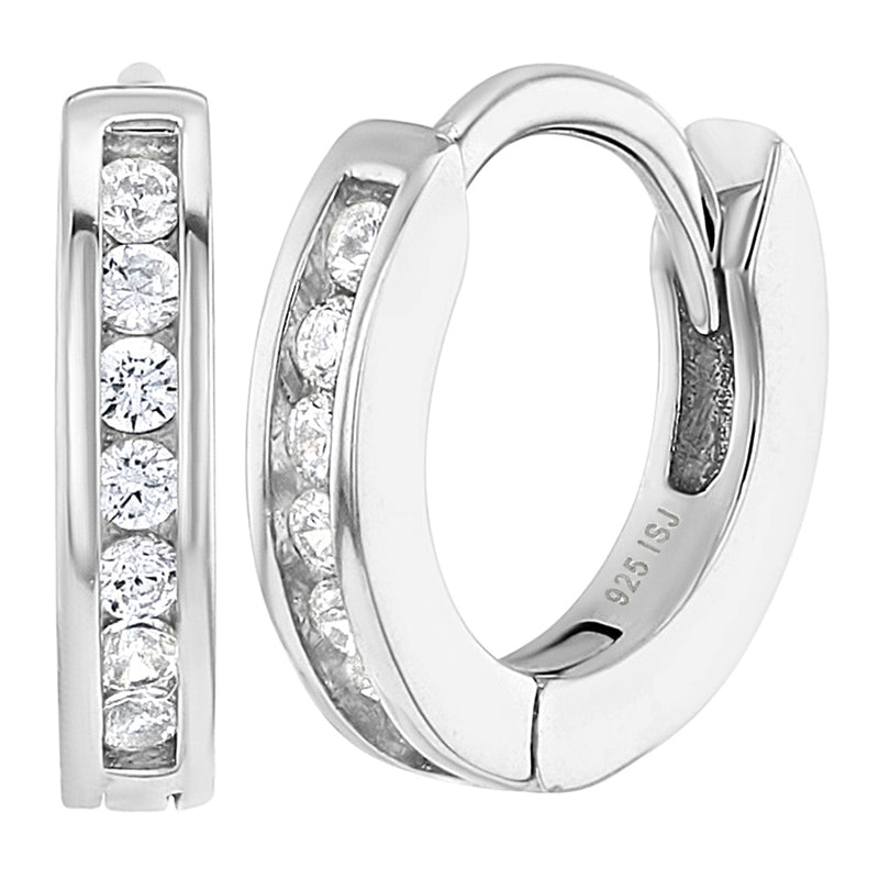 925 Sterling Silver CZ Small Hoop Earrings for Girls Kids Toddlers Infants 0.39""