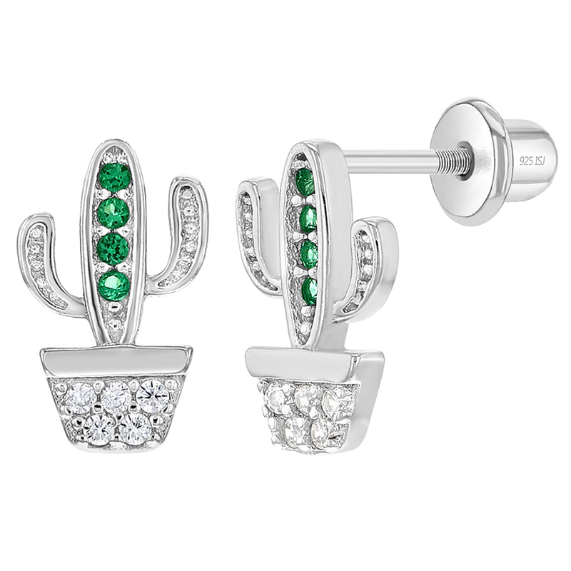 925 Sterling Silver CZ Cowgirl Cactus Screw Back Earrings for Young Girls & Teen