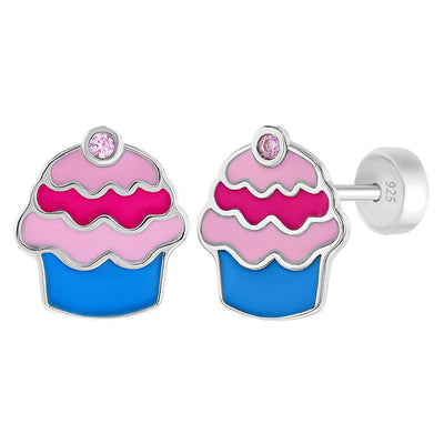 925 Sterling Silver Cupcake Earrings Safety Backs for Young Girls Enamel Pink CZ