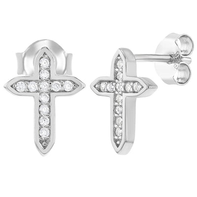 925 Sterling Silver Clear CZ Cross Stud Religious Earrings for Girls or Teens