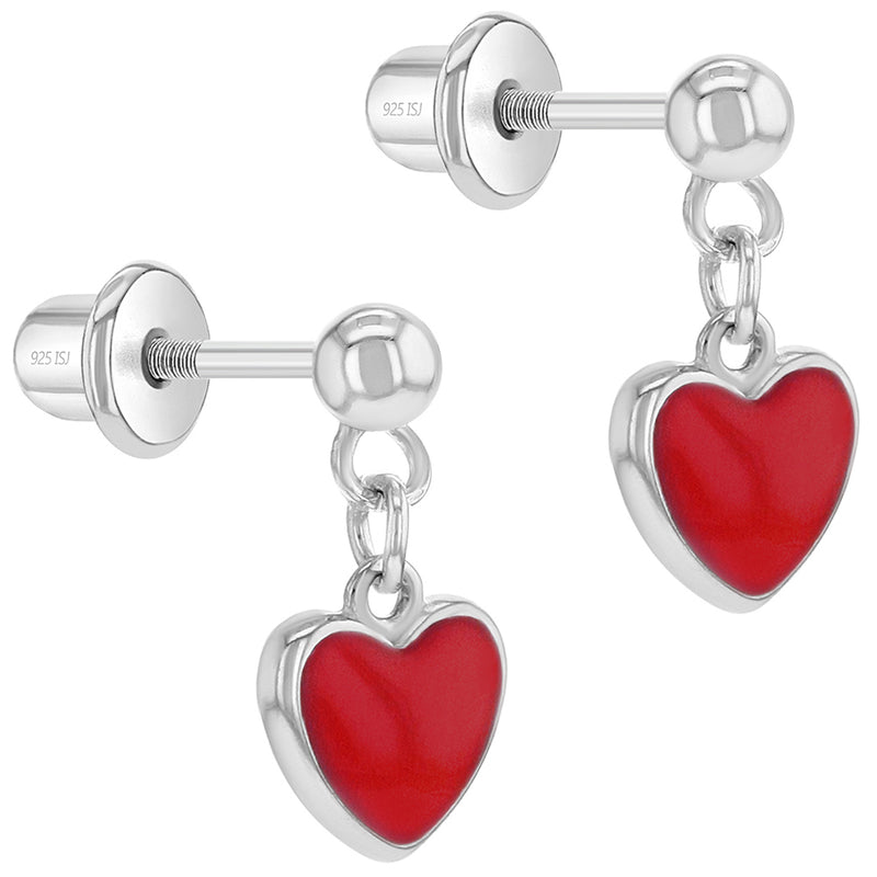 Girl Earrings Sterling Silver Heart Dangle Earrings
