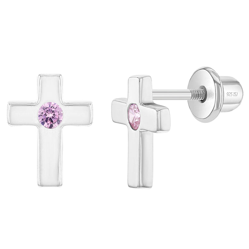 925 Sterling Silver Little Cross Pink CZ Screw Back Religious Earrings for Girls