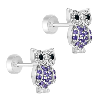 925 Sterling Silver Purple CZ Safety Push Back Owl Earrings for Girls Teens
