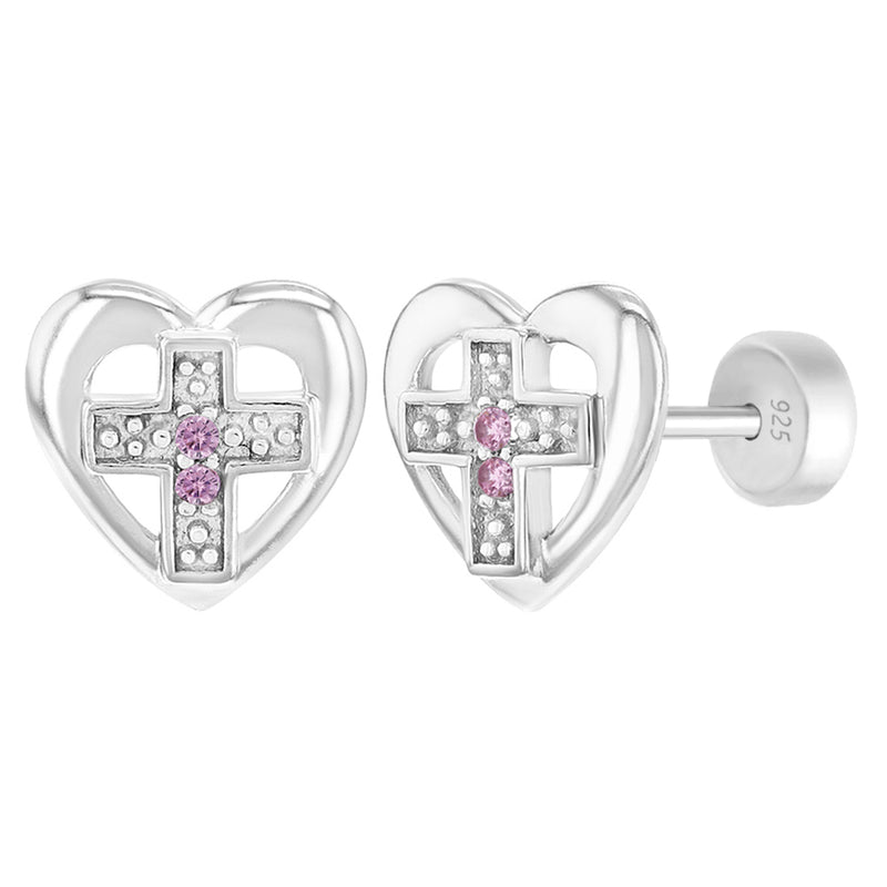 925 Sterling Silver Small Pink CZ Heart Cross Safety Stud Earrings for Girls