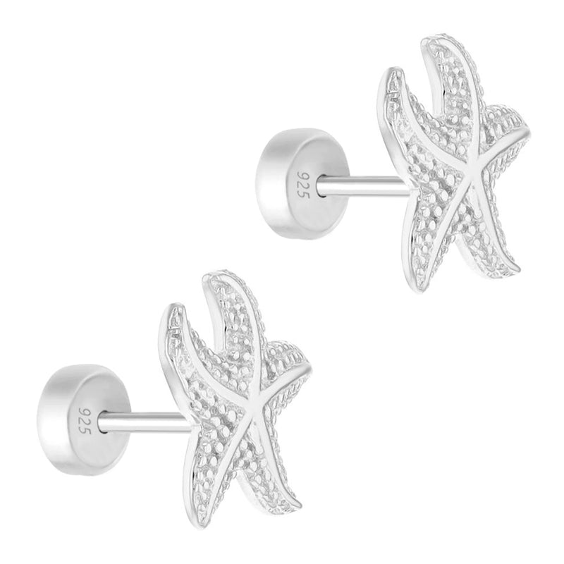 925 Sterling Silver Starfish Earrings for Girls Sea Nautical Safety Push Back