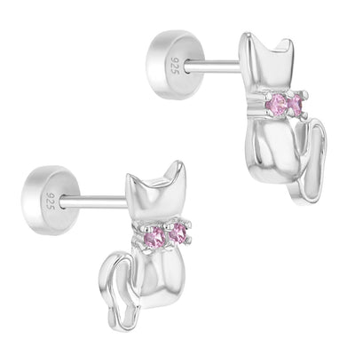 925 Sterling Silver Pink CZ Cat Kitten Safety Back Earrings for Toddlers Girls