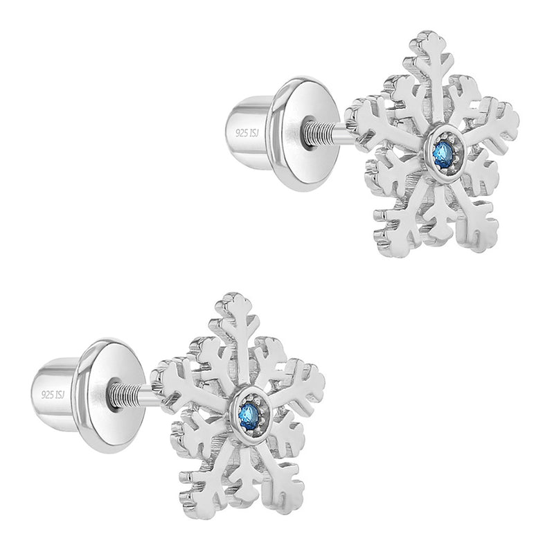 925 Sterling Silver Blue CZ Winter Snowflake Screw Back Earrings Girls Teens
