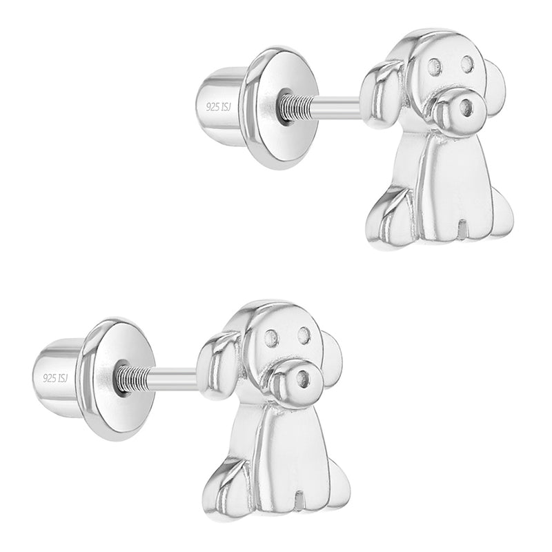 925 Sterling Silver Puppy Dog Pet Animal Earrings Screw Back for Kids Young Girl