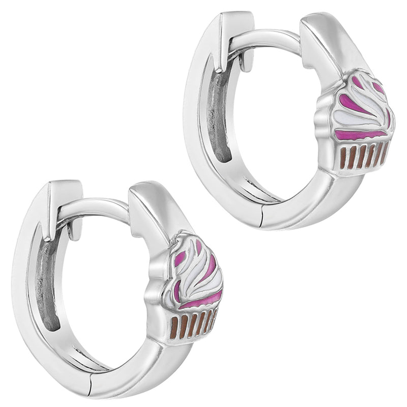 925 Sterling Silver Enamel Cupcake Hoop Huggie Earrings for Little Girls 0.39""