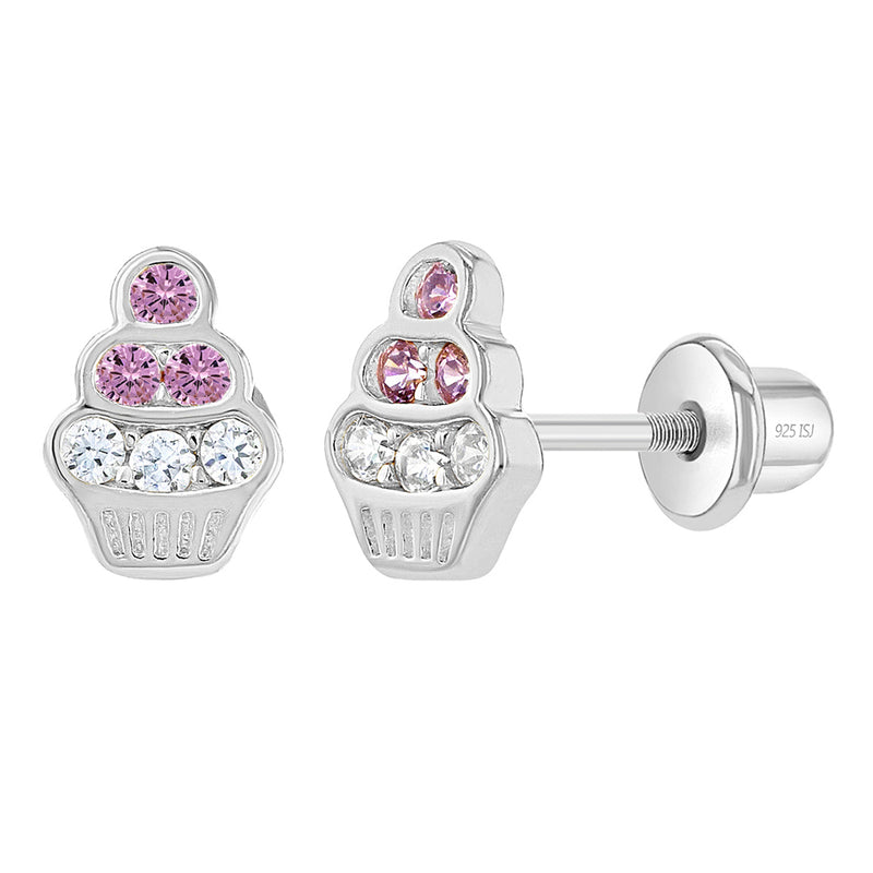 925 Sterling Silver Clear Pink CZ Cupcake Screw Back Earrings for Toddlers Girls