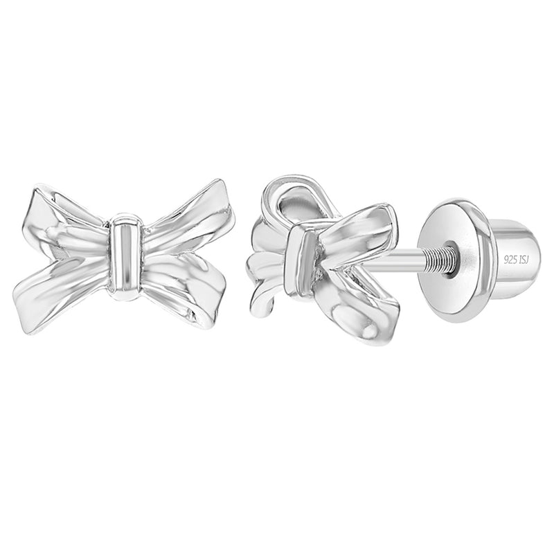 925 Sterling Silver Bow Screw Back Earrings for Toddlers Young Girls & Teens