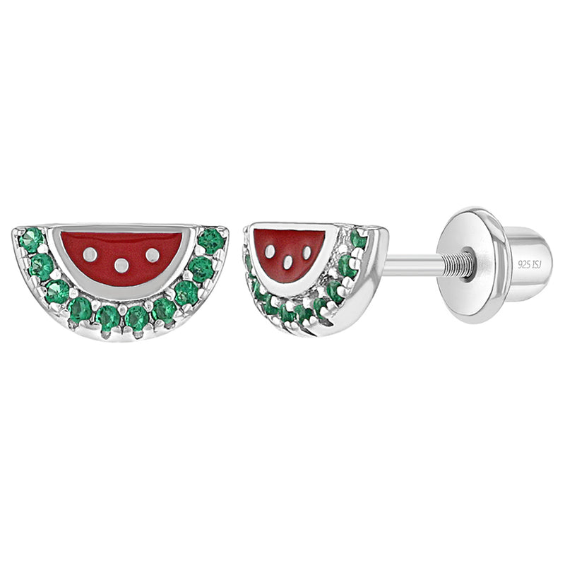925 Sterling Silver Girl's Green Cubic Zirconia Red Enamel Watermelon Earrings, Fun & Colorful Earrings for Toddlers, Young Girls and Pre Teens