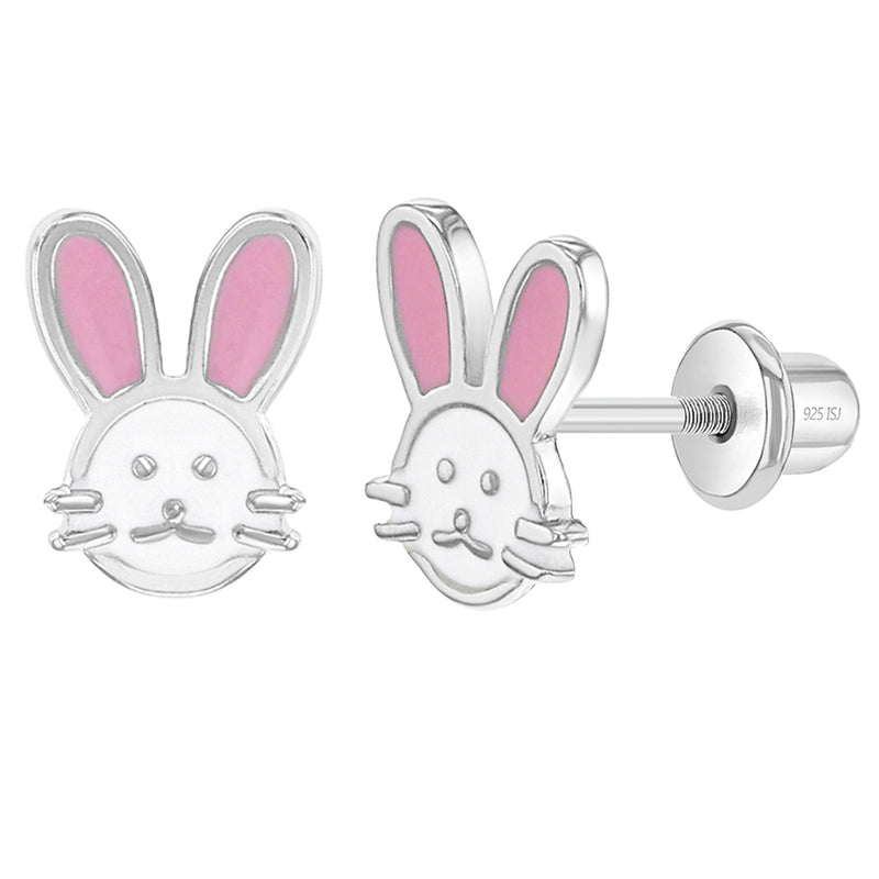 925 Sterling Silver Pink White Enamel Bunny Rabbit Screw Back Earrings for Girls
