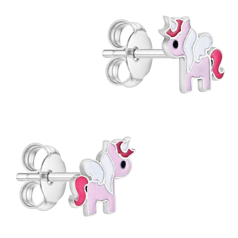 925 Sterling Silver Little Enamel Painted Unicorn Earrings for Girls & Preteens