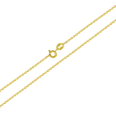 "925 Sterling Silver Gold Plated 16"" Plain Unisex Cross Necklace for Kids Pendant & Chain"