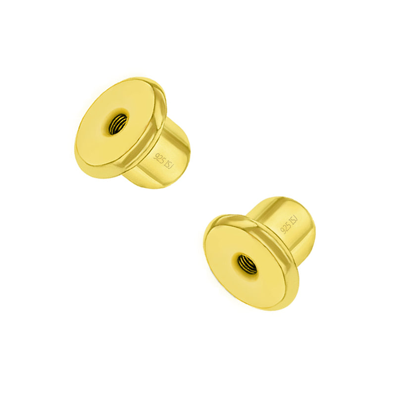 Replacement PAIR (2) 925 Sterling Silver Gold Plated Earring Screw Backs Only Fits In Season Jewelry