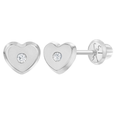 14k White Gold 5mm Clear Cubic Zirconia Heart Screw Back Earrings for Baby Girls, Studs