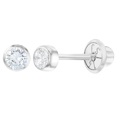 14k White Gold 3mm Bezel Round Cubic Zirconia Screw Backs for Babies & Toddlers, Tiny Studs