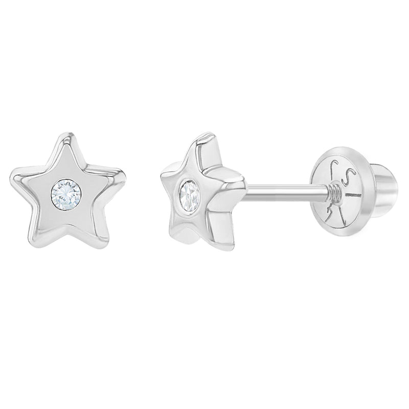 14k White Gold 5mm Little Star Earrings Clear Cubic Zirconia Screw Back Earring Studs