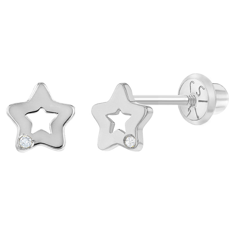 14k White Gold 5mm Small Star Diamond Screw Back Earrings for Babies & Toddler Girls