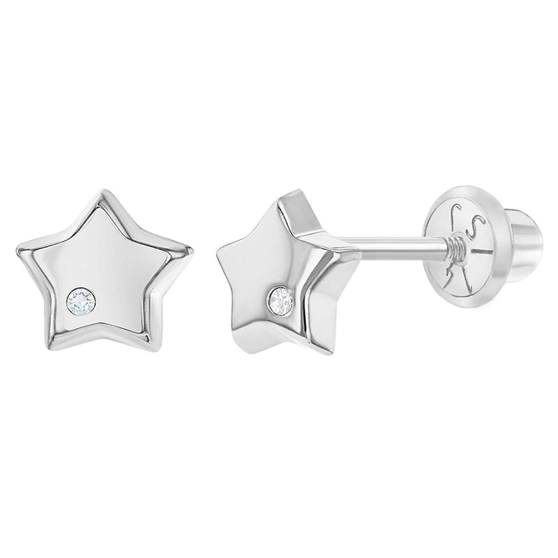 14k White Gold Small Polish Star Diamond Accent Baby Infant Screw Back Earrings