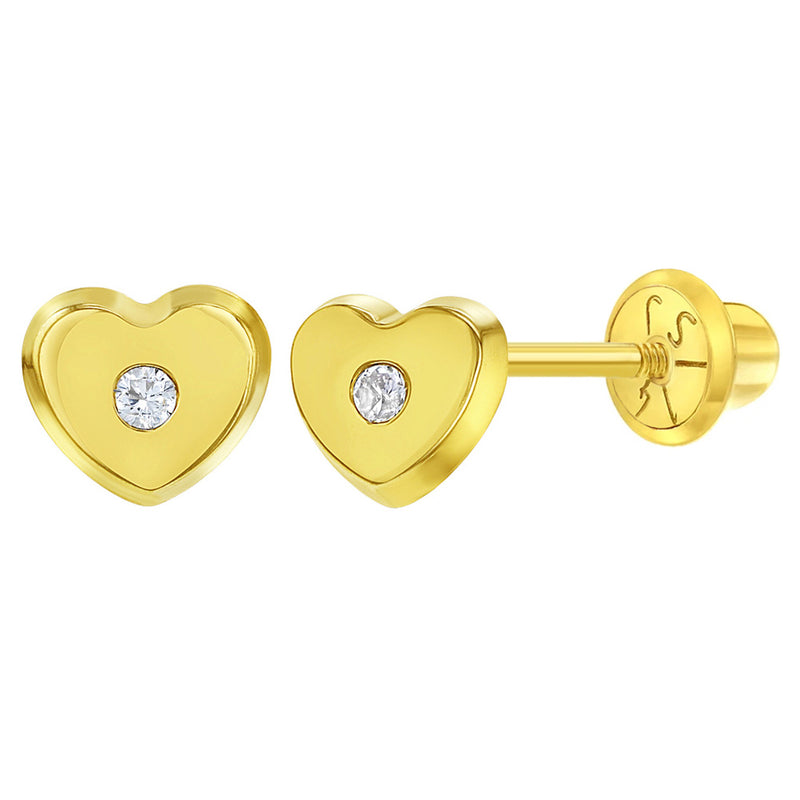 14k Yellow Gold Clear CZ Screw Back Little Heart Earrings Babies Infants Girls