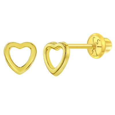 14k Yellow Gold Young Girls 5mm Open Heart Screw Back Earrings for Children
