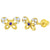 14k Yellow Gold Cubic Zirconia Small Butterfly Screw Back Earrings for Toddler or Girls