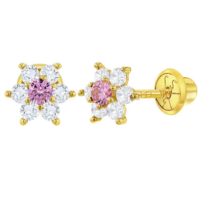 14k Yellow Gold Clear and Pink Flower Screw Back Earrings for Girls or Toddlers