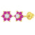 14k Yellow Gold Clear and Hot Pink Flower Screw Back Earrings for Girls or Toddlers