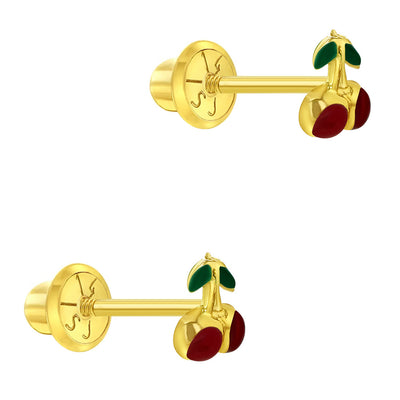 14k Yellow Gold Red Little Cherry Earrings Fruit Toddler Kids Screw Back