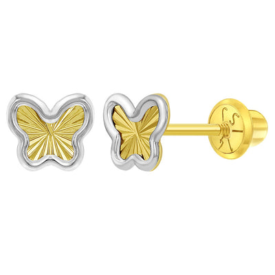 14k Yellow and White Gold Two Tone Butterfly Screw Back Earrings for Toddlers or Girls