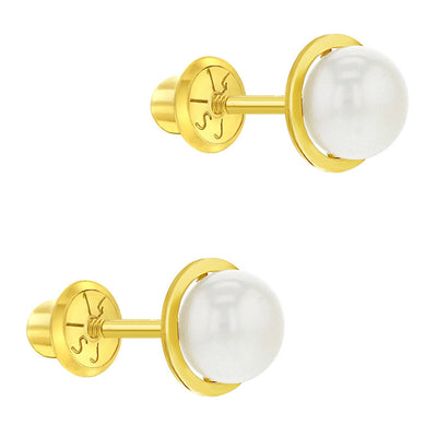 14k Yellow Gold Girl's White Cultured Pearl Bezel Set Screw Back Earring Studs