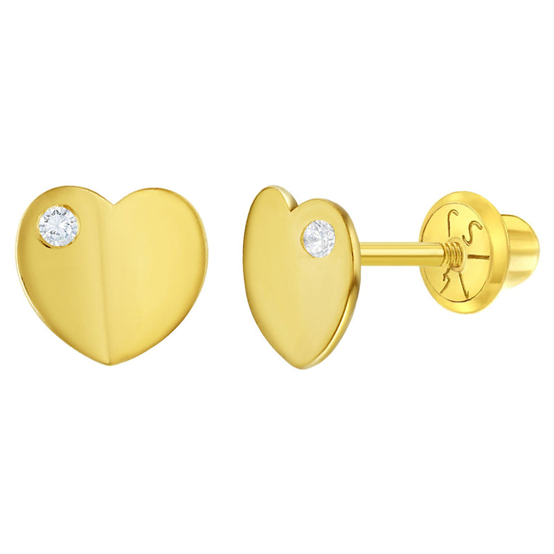 14k Yellow Gold Classic Cubic Zirconia Heart Screw Back Earrings for Young Girls