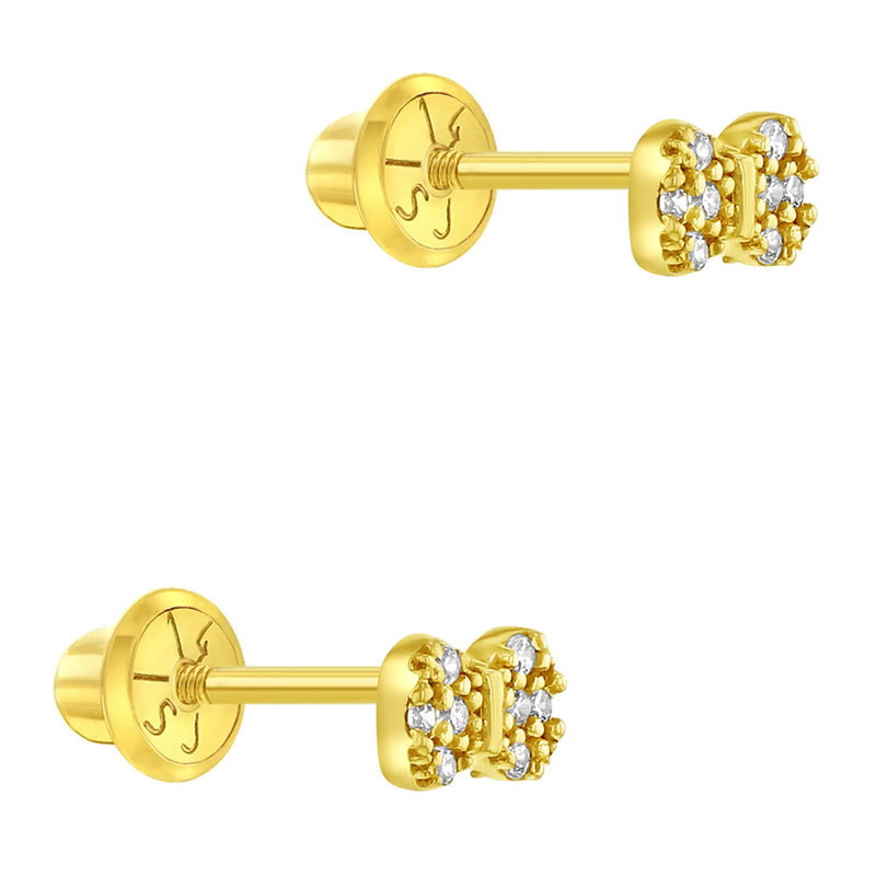 14k Yellow Gold Tiny CZ Bow Tie Screw Back Earrings for Babies, Toddlers & Young Girls