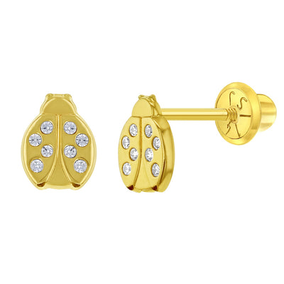 14k Yellow Gold Tiny CZ Ladybug Safety Screw Back Earrings for Toddlers & Little Girls