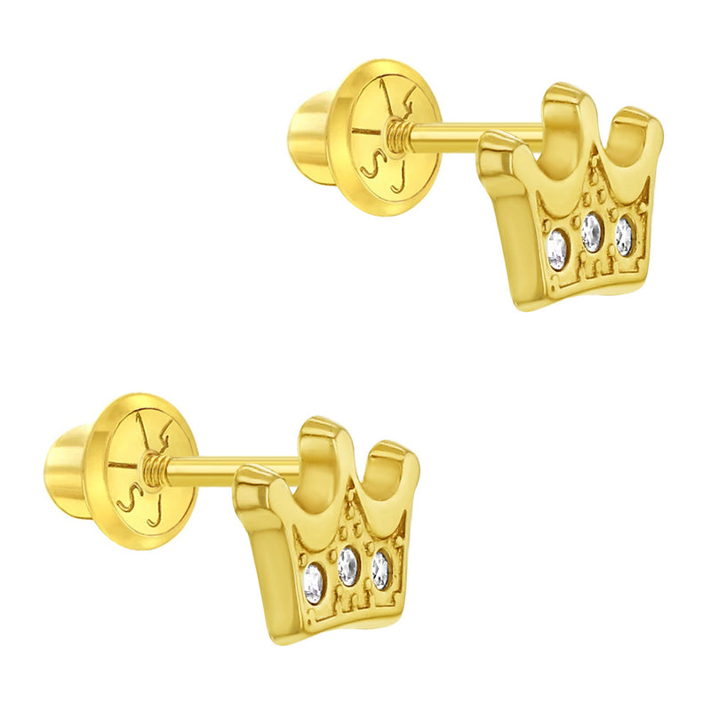 14k Yellow Gold Little Princess Crown Screw Back Earrings for Toddlers & Girls