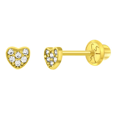 14k Yellow Gold 3mm Tiny Pave CZ Heart Screw Back Earrings for Infants or Babies