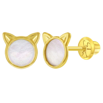 14k Yellow Gold Little Mother Pearl Kitty Cat Screw Back Earrings for Young Girls