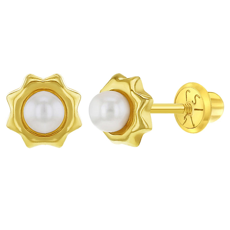 14k Yellow Gold Cultured Pearl Flower Screw Back Earrings for Babies, Toddlers & Young Girls