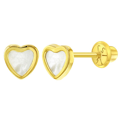 14k Yellow Gold Mother of Pearl Little Heart Screw Back Earrings Babies Toddlers