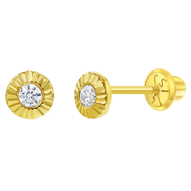 14k Yellow Gold 4mm Clear Cubic Zirconia Round Sunflower Screw Back Earrings for Girls - Lovely Flower Studs