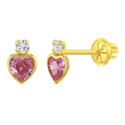 14k Yellow Gold Clear & Pink Cubic Zirconia Heart Screw Back Earrings for Girls- Round & Heart CZ Stud
