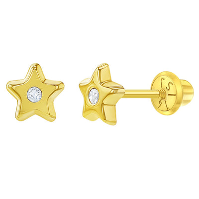 14k Yellow Gold Clear CZ Screw Back Little Star Earrings Baby Girl Toddlers 5mm