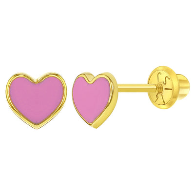 14k Yellow Gold Pink Enamel Heart Screw Back Earrings for Toddlers or Girls