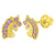 14k Yellow Gold Unicorn Earrings Cubic Zirconia Screw Back Infants Toddler Girls