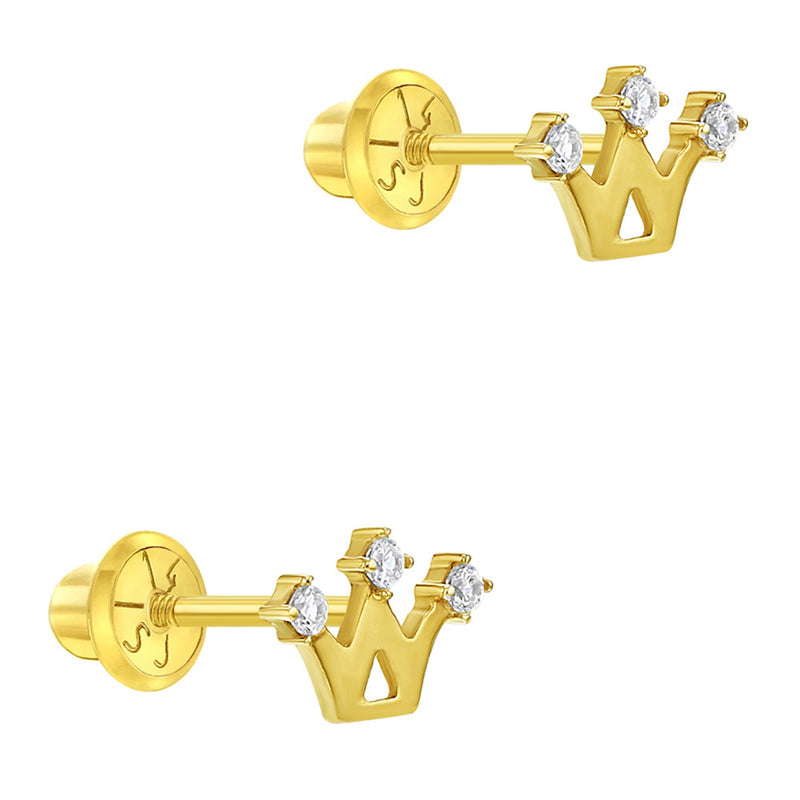 14k Yellow Gold Princess Crown Earrings Little Girls Safety Screw Back Clear CZ