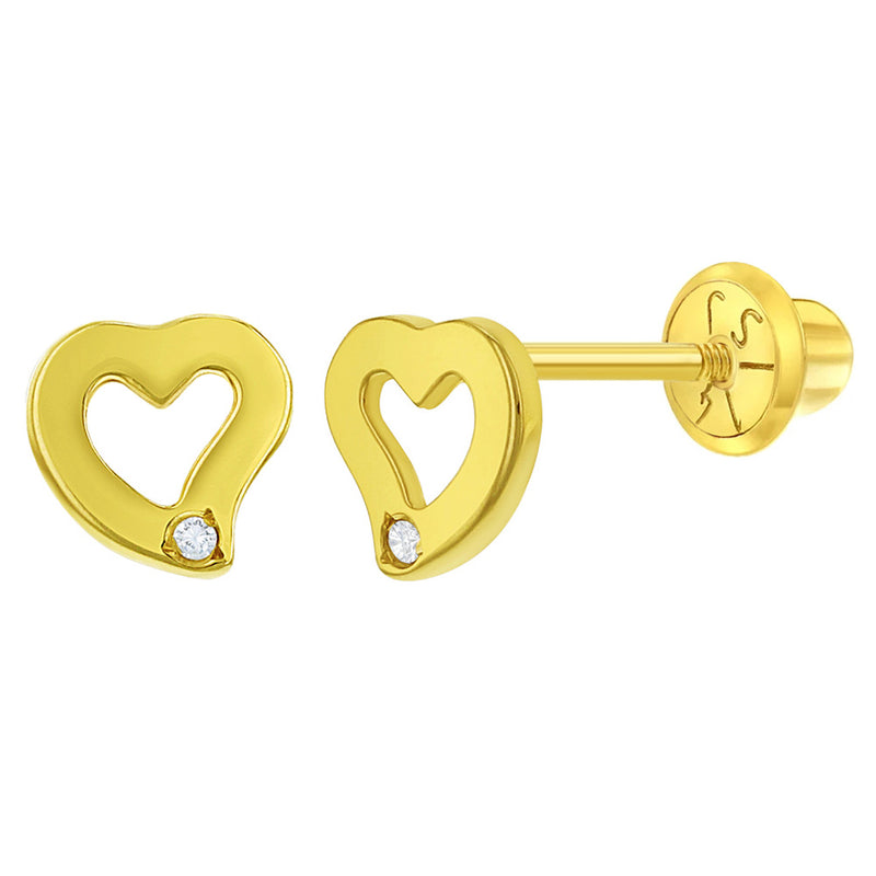 14k Yellow Gold Young Girl's Small 5mm Diamond Accent Curve Heart Screw Backs, Tiny Shape Studs