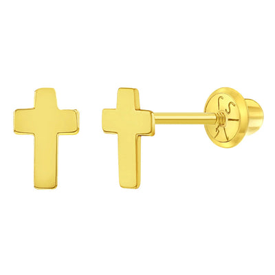 14k Yellow Gold Small Classic Cross Screw Back Earrings for Little Girls - Babies to Toddlers